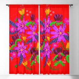 Orange Violets Blackout Curtain