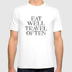 Eat well, Travel often MEDIUM White Mens Fitted Tee