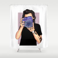 harry styles Shower Curtains featuring Styles by sparklysky