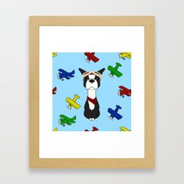 Bobble Pilot Boston Terrier Framed Art Print