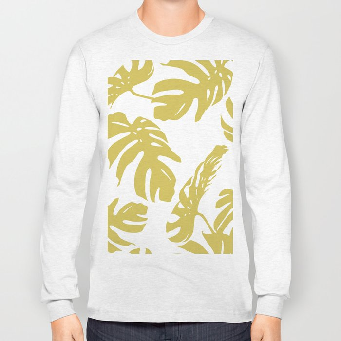 Simply Mod Yellow Palm Leaves Long Sleeve T-shirt