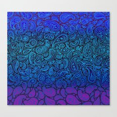 Purple Paisley - ombre paisley pattern in purple, blue and black. Canvas Print