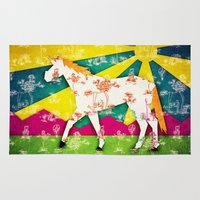 jem Area & Throw Rugs featuring Patchwork Toile Unicorn by That's So Unicorny