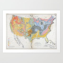 1874 Geological Map of the United States Art Print