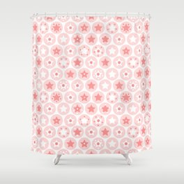 Geometric pink girls kids circles and stars seamless pattern on white background Shower Curtain