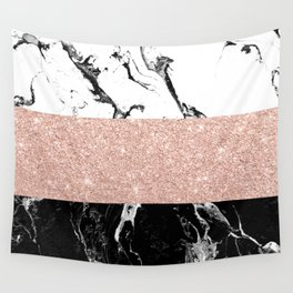 Modern black white marble rose gold color block stripes pattern Wall Tapestry