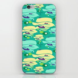 Pattern with fishermen in boats (green version) iPhone Skin