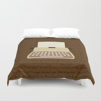 writing Duvet Covers featuring Writing on a typewriter by Katelyn Piontek