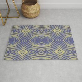 Tribal lines geometric pattern - Yellow & Blue Rug