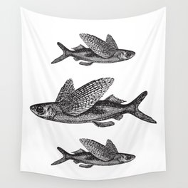 Flying Fish | Black and White Wall Tapestry