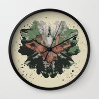 camouflage Wall Clocks featuring CAMOUFLAGE by GEEKY CREATOR