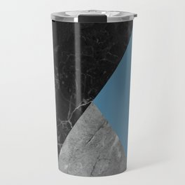Black and White Marbles and Pantone Niagara Color Travel Mug