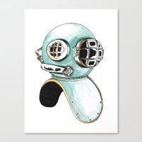 scuba Canvas Prints featuring Scuba Helmet by Morgan Braaten
