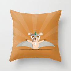 The Dino-zoo: Flying squirrel-saurus Throw Pillow