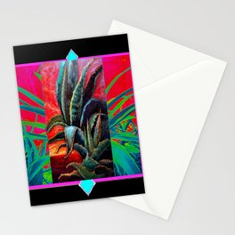 BLACK WESTERN TURQUOISE MODERN ART DESERT AGAVE CACTUS Stationery Cards
