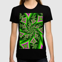 Green And Pink Shapes Fractal T-shirt