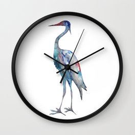 Crane #1 - Ink painting Wall Clock