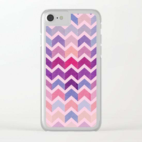 Watercolor Chevron Pattern II Clear iPhone Case