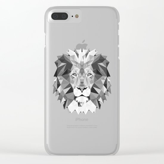 Large Silver Lion Head Clear iPhone Case