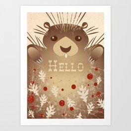 """Hello"" Cute Porcupine Art Print"