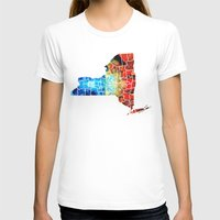 yankees T-shirts featuring New York - Map By Sharon Cummings by Sharon Cummings