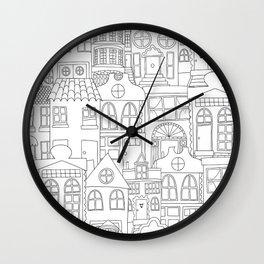 Row Houses Wall Clock