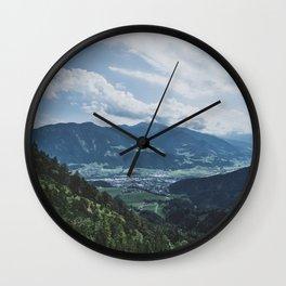Beautiful austrian town between the mountains Wall Clock