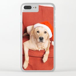 Dog with Christmas hat on armchair Clear iPhone Case