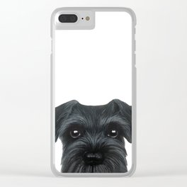 New Black Schnauzer, Dog illustration original painting print Clear iPhone Case
