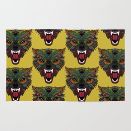 wolf fight flight ochre Rug