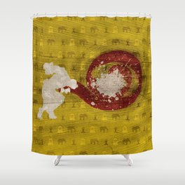 """Fire And Flame (Homage to Dhalsim of """"Street Fighter"""") Shower Curtain"""