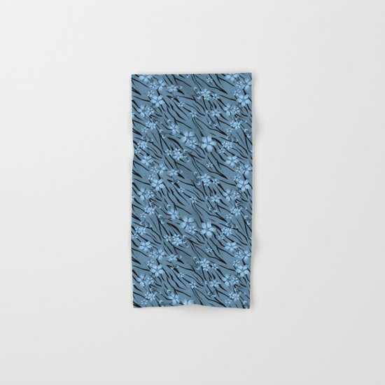 Blue flowers on blue tiger background. Hand & Bath Towel
