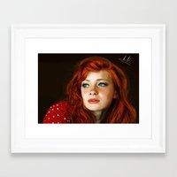 redhead Framed Art Prints featuring RedHead by Allaa Adel