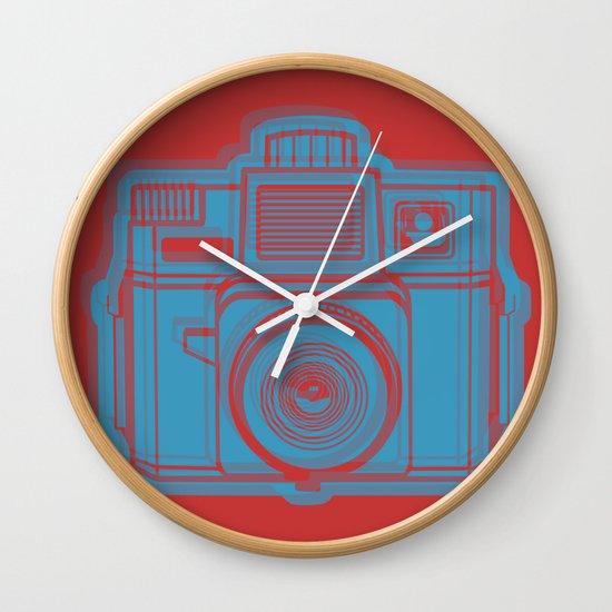 I Still Shoot Film Holga Logo - Red & Blue Wall Clock