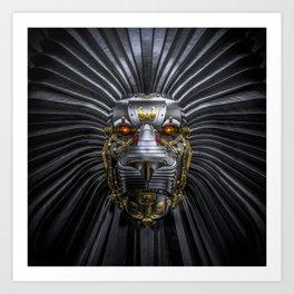 Hear Me Roar / 3D render of serious metallic robot lion Art Print