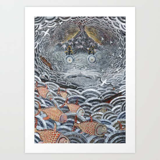 Golden Fishes Art Print