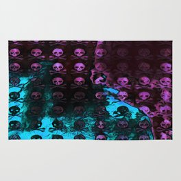 Deaths Frozen Blanket Skulls: Pink And Blue Rug
