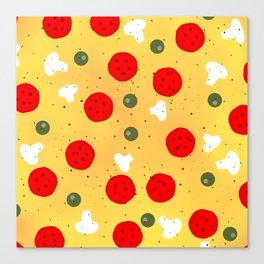 Cool fun pizza pepperoni mushroom Canvas Print