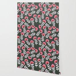 Camelita Retro Folk Flower Wallpaper