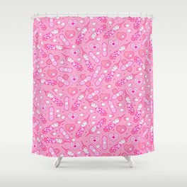 Kawaii Menhera on Pink Shower Curtain