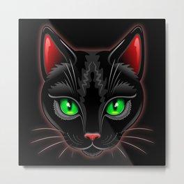 Black Cat Portrait Metal Print