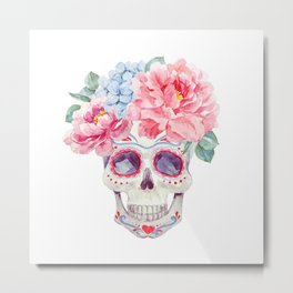 Watercolor mexican holidays of the dead Metal Print