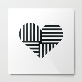 Black and White Abstract Stripe Heart Metal Print