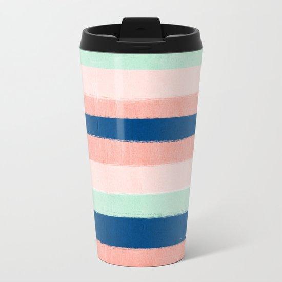 Painted stripes pattern minimal basic nursery decor home trends colorful art Metal Travel Mug