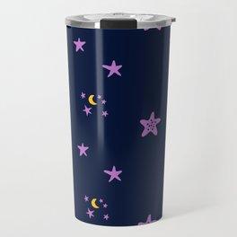 Purple plum violet stars and yellow moon by dark blue night Travel Mug