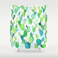 watercolour Shower Curtains featuring Watercolour Cacti by Jenna Mhairi