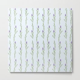 Modern artistic pastel blue lavender watercolor floral pattern Metal Print