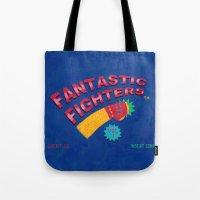 foo fighters Tote Bags featuring Fantastic Fighters by murat kalkavan