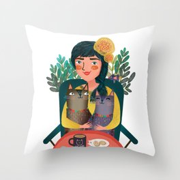Cat lover Throw Pillow