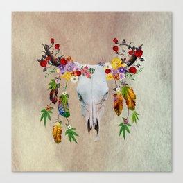 Boho Cannabis Cattle Skull Canvas Print